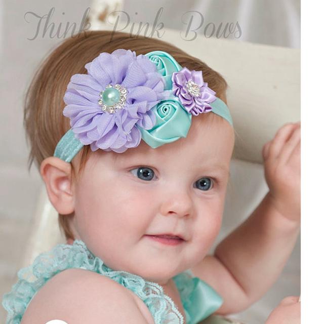 1 шт. новорожденных симпатичная перл розы волосы группа шифон детские повязка на ...