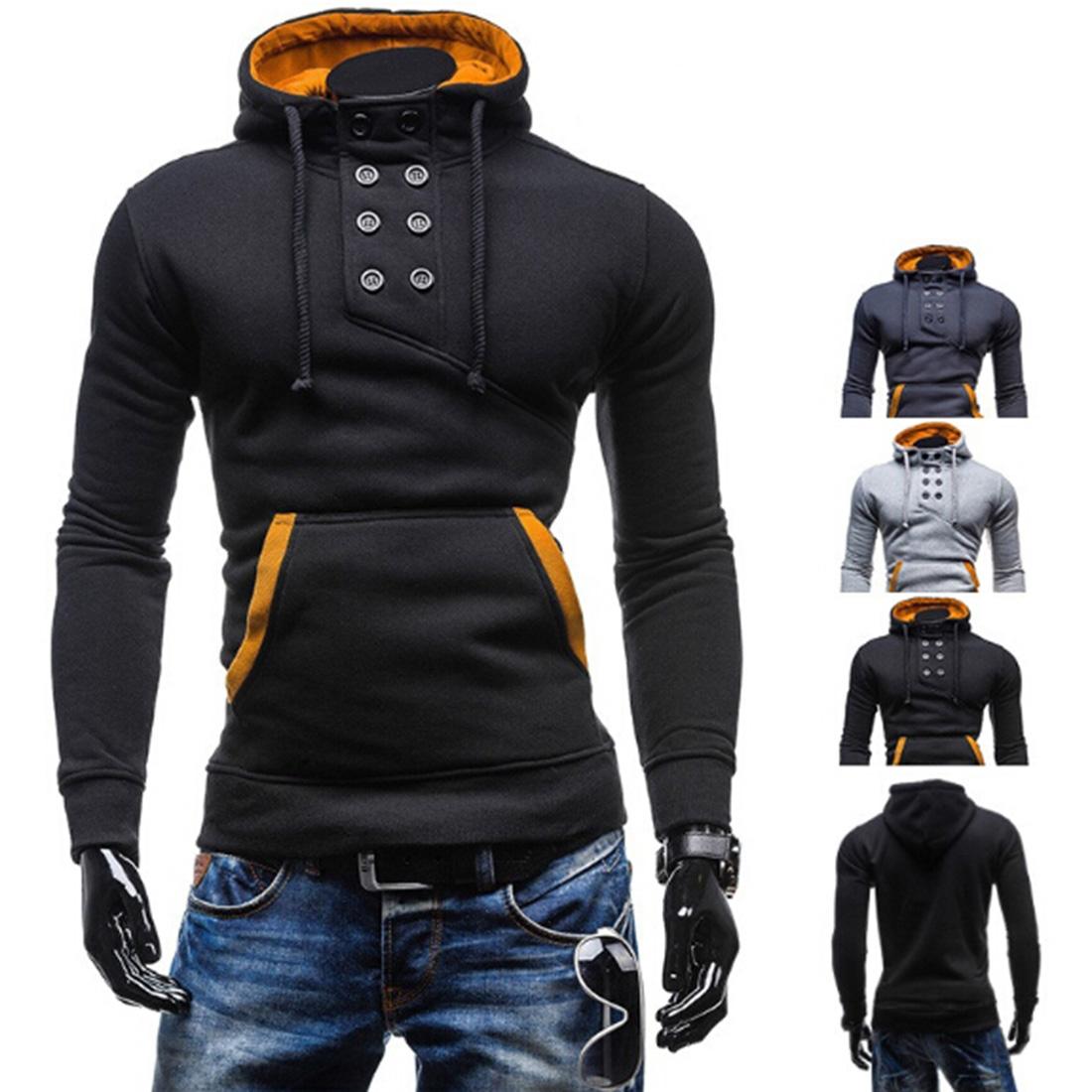 Men s Winter Pullover Stand Collar Hoodie Sweatshirt Coat Warm Long Sleeve