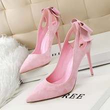New Summer Women Pumps Sweet Beauty Bow Thin High Heels Shoes Suede High heeled Pointed Hollow
