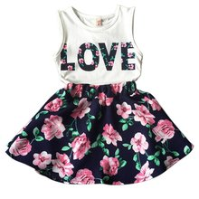 New 2PCS Toddler Kids Baby Girls Outfits T Shirt Tops + Floral Mini Skirt Clothes Set L07(China (Mainland))