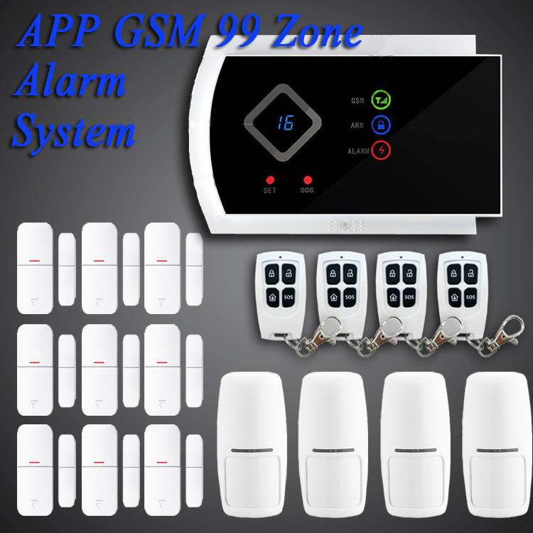DYGSM App Free shipping 101 zone 99 wireless zone and 2 wired Quad-Band home security GSM alarm system 850/900/1800/1900MHZ(China (Mainland))