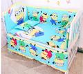 Promotion 6PCS Cartoon Cot Baby bedding set bed linen cotton crib bumper include bumper sheet pillow
