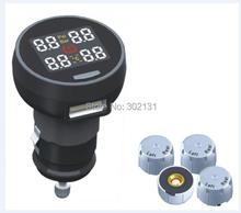 Envío gratis de control de presión de tpms monitor de sistema de 4 sensores externos paquete al por menor coche tpms