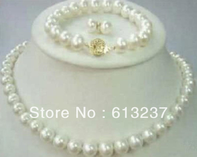 new 2014 Fashion Style Natural AAA 9-10mm White Freshwater Pearl Necklace Bracelet & Earring Sets beads jewelry making YE2074(China (Mainland))