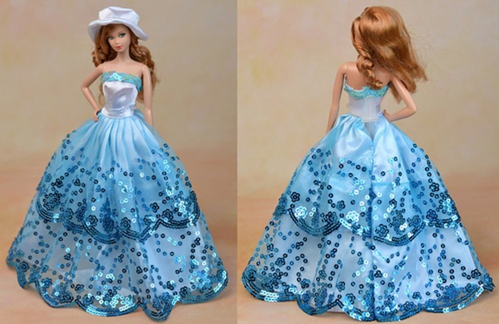 Blue Ball Robe with Gentle Blue Sequined Lace Particulars for Barbie Doll