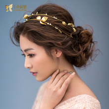 Gorgeous Gold Plated leaf headband pearl jewelry crystal tiara women crown hair ornaments bridal wedding accessories Gift lluozh(China (Mainland))