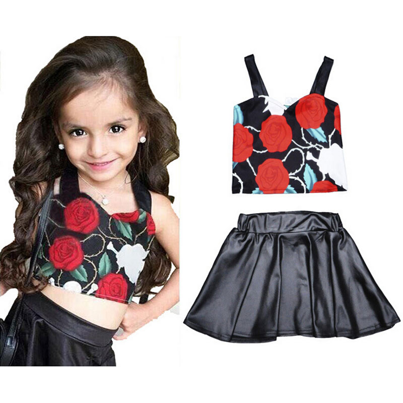 Hot Sell 2016 High-Quality Children'S Summer Cute Vest Skirt Suits, Floral Camisole + PU Bright Side Skirts For Girls 2T-6T 5C27(China (Mainland))