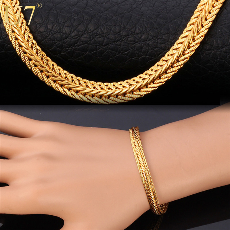 """18K"" Stamp Real Gold Plated Bracelet Wholesale New Fashion Rock Style 21 cm 0.6 cm Thick Snake Chain Bracelet Men Jewelry H552(China (Mainland))"