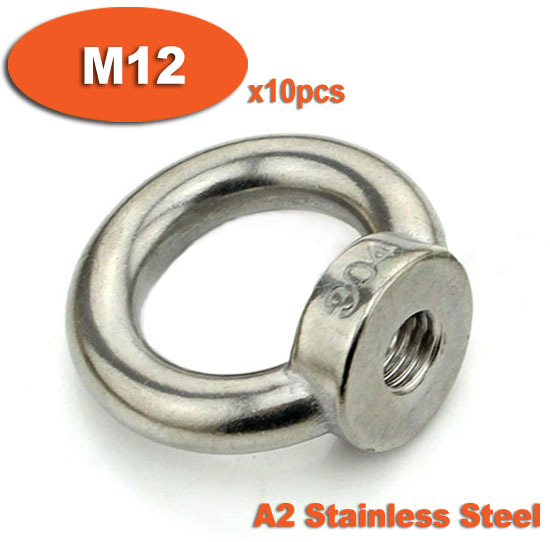 10pcs DIN582 M12 A2 Stainless Steel Lifting Eye Nuts Nut<br><br>Aliexpress