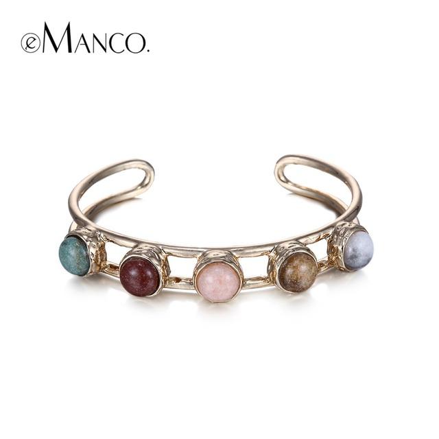 Emanco камень сплава браслет сплава цинка манжеты браслеты для женщин позолоченный ...