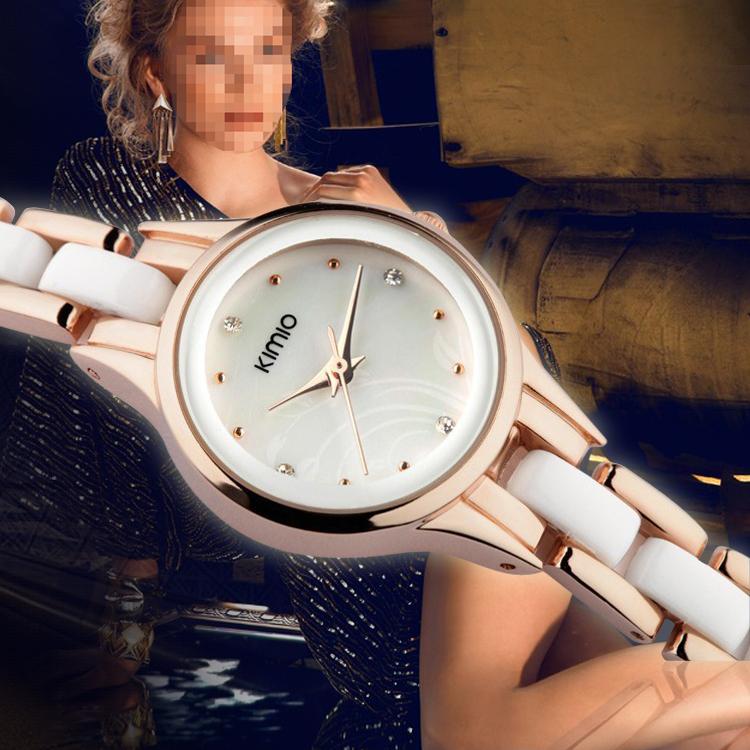 Ceramic Watch KIMIO Enamel Ladies Casual Watches Steel Case For Women Dress Watch Analog Top Quality Women Wristwatches<br><br>Aliexpress