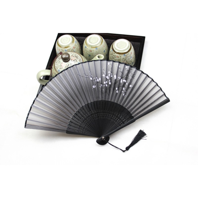 Black Chinese Japanese Folding Hand Held Fan Silk&Bamboo Flower Pocket Fan Party Supplies()