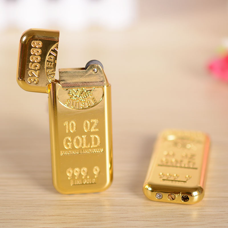 Гаджет  A1533 bullion 297 Wheel flame lighters creative personality thin gold BRIC portable models for men None Еда