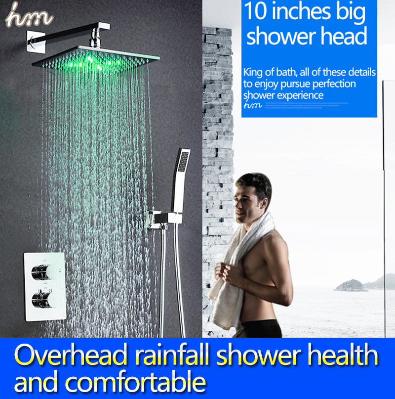 """hm Thermostat Faucet Shower Set Wall Mounted Embedded Box 10"""" LED Shower Head Powered by Water Saving Water Chrome(China (Mainland))"""