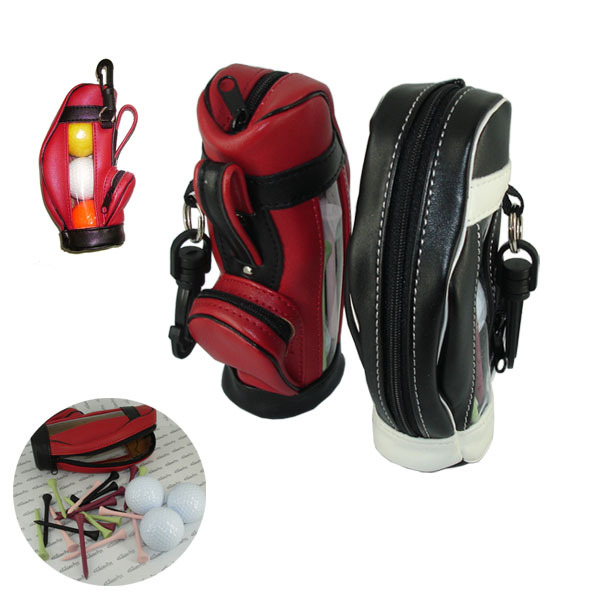 Cheap Golf Tool Training Bag Multifunctional PU Leather Mini Golf bag with 3pcs Golf Ball and Tees in the Mini Golf Gift set Bag(China (Mainland))