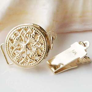 Solid 14ct Yellow Gold Clasp Filigree Round Box Safety Tab Buckle Au585 Oro Jewelry Findings for Pearl Necklace<br><br>Aliexpress
