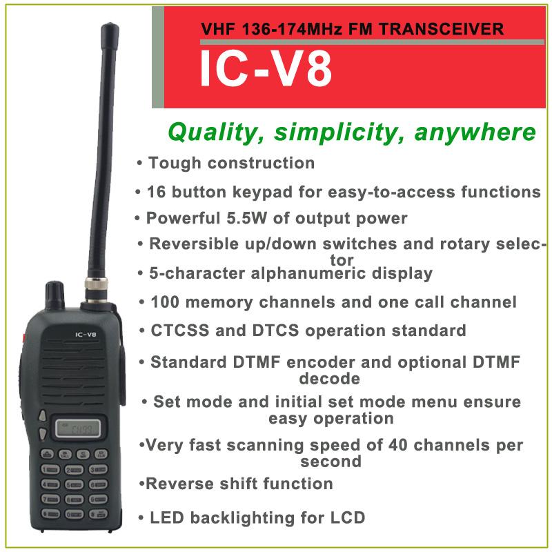 Brand New IC-V8 VHF 136-174MHz 100 Channels FM Transceiver(for icom)(China (Mainland))