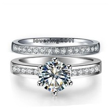 Victoria Wieck Vintage White Sapphire Diamonique 10KT White Gold Filled Wedding Band Finger Ring Set Sz 5-10 Free shipping Gift(China (Mainland))