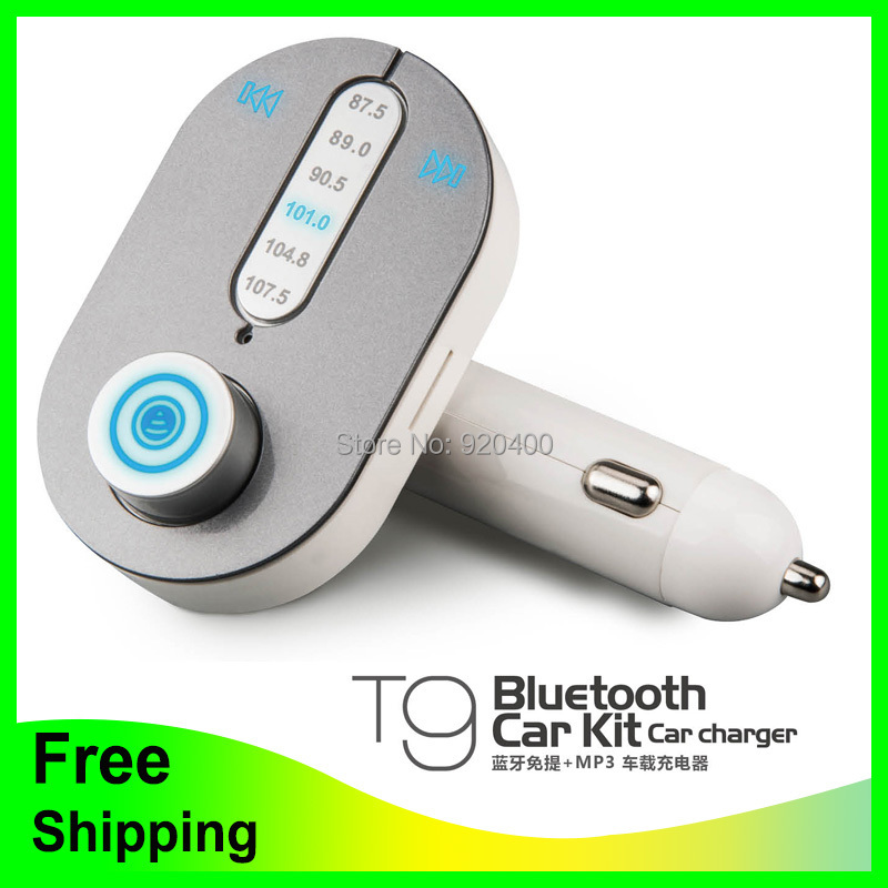 Free Shipping 12V Car MP3 Player Volume Adjustable Wireless Bluetooth FM Transmitter with Charger Frequency optional(China (Mainland))