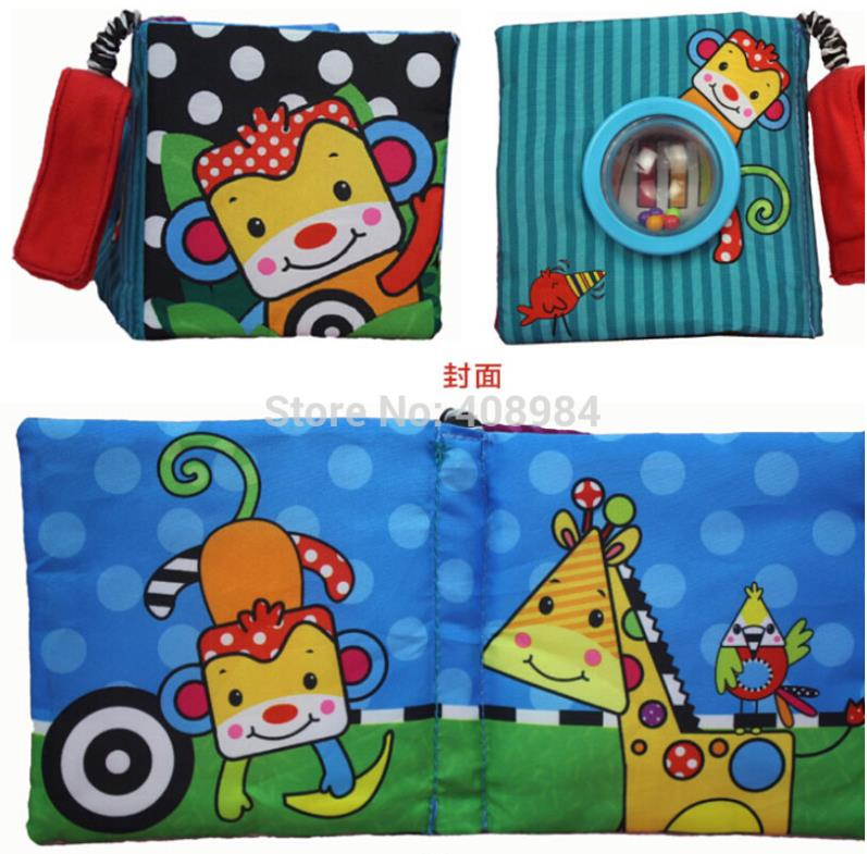 (2 pieces/lot) Multifunctional Elephant and monkey Baby Cloth Book Early Education colorful animals book rattle(China (Mainland))