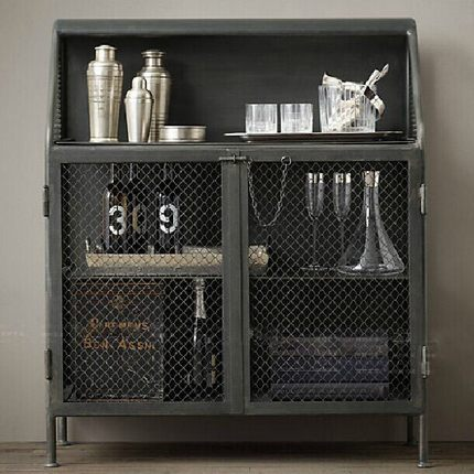 Us new home loft industrial style wrought iron sideboard cabinet storage cabi - Armoire style industriel ...
