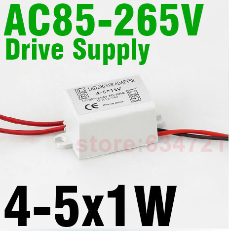 (4-5)x1W High Power Constant Current Source 85-265V3 00MA  LED Driver Power Supply for External Ceiling Light Free Shipping