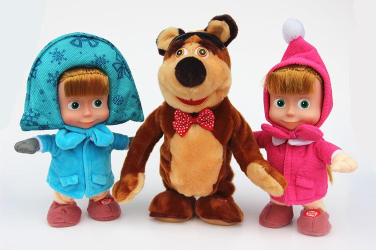Promotion! Masha and the Bear Toys Russian Dancing Walking Talking Singing Doll Birthday Gift Masha e Orso Bonecas Baby Alive(China (Mainland))