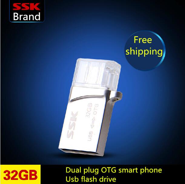 SSK Snow White 100% 32GB OTG MINI Smart phone usb flash drives pen drive Tablet  PC Dual plug metal usb 32G  Free shipping<br><br>Aliexpress