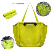 New Arrival Large capacity Foldable Trolley Supermarket Green Shopping Bag Eco-friendly Reusable Folding Handle bags(China (Mainland))