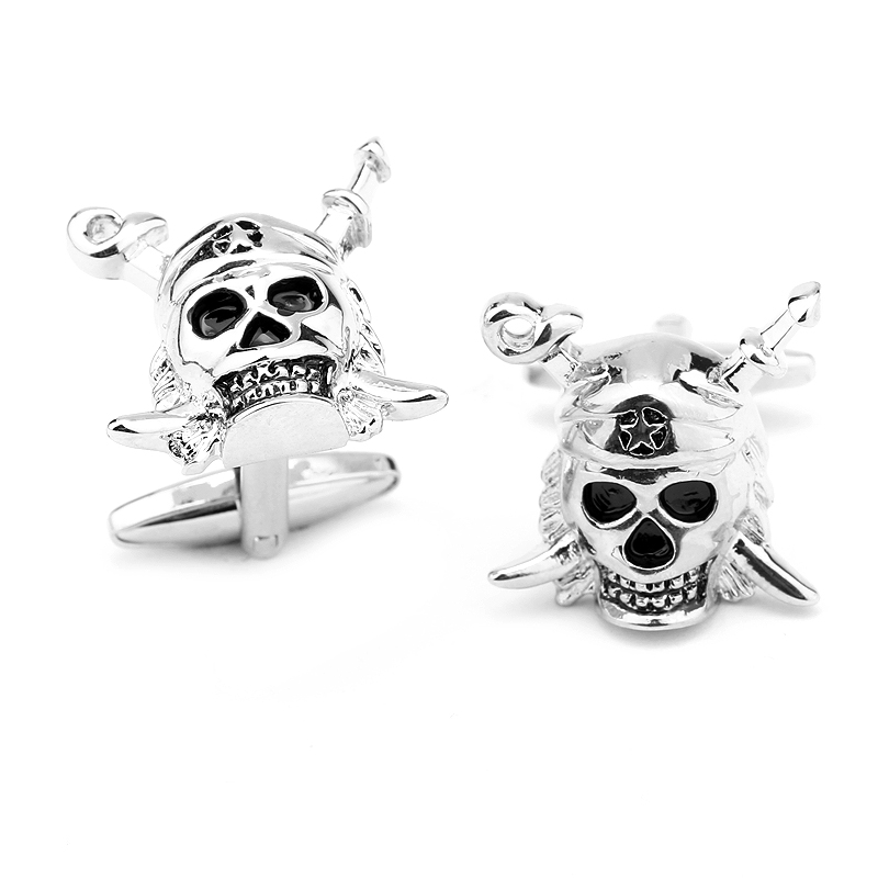 New Arrival Gerkia Pirate Black Skull Cufflinks Tuxedo Studs Male French Shirt Cuff Links For Men's Jewelry Gift Free Shipping(China (Mainland))