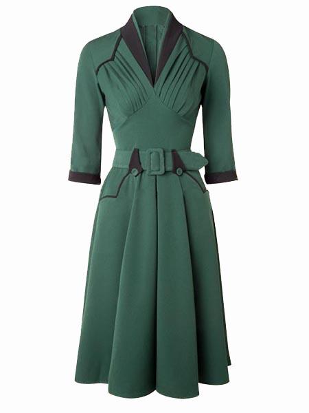 Bridess Pleated A-line Dress Belt Green 3/4 Sleeve Ruffle Vintage Women Rockabilly Dress Mid-Calf Spring Fall DressesОдежда и ак�е��уары<br><br><br>Aliexpress