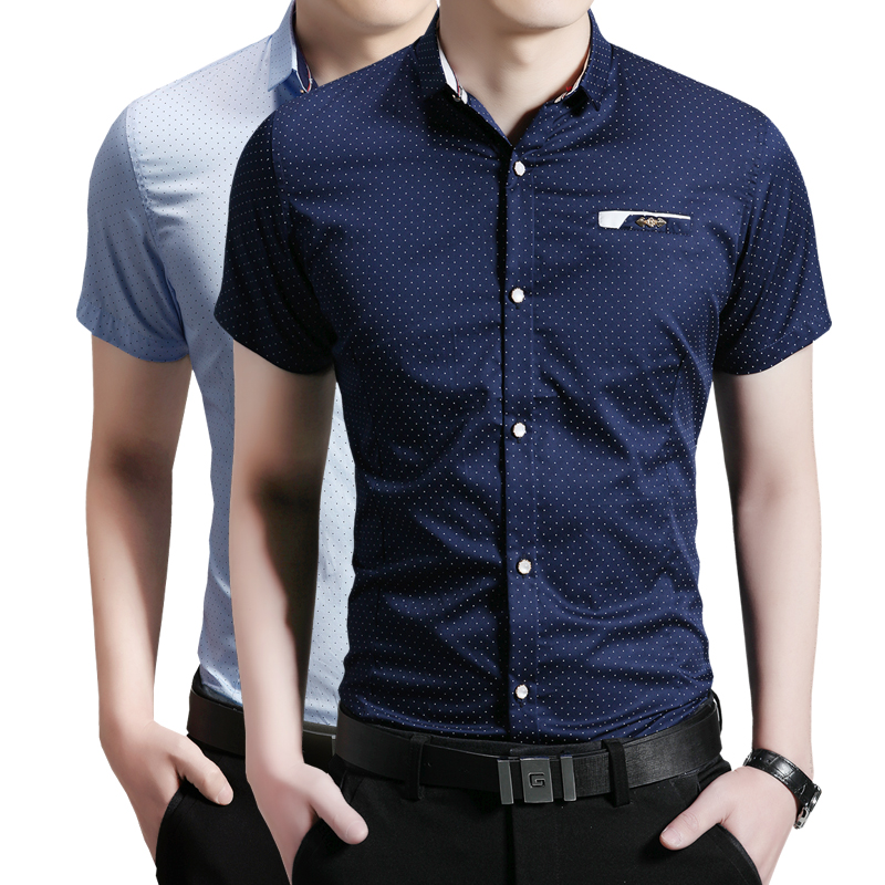 2016 men business shirts summer slim casual blouse short for Men s fashion short sleeve shirts