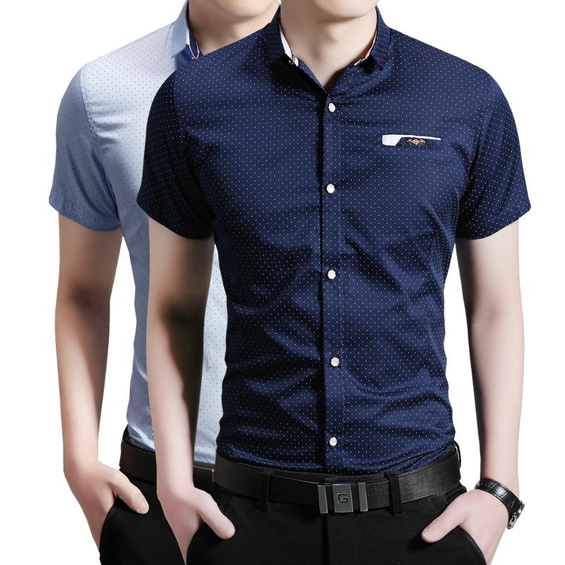 2016 men business shirts summer slim casual blouse short