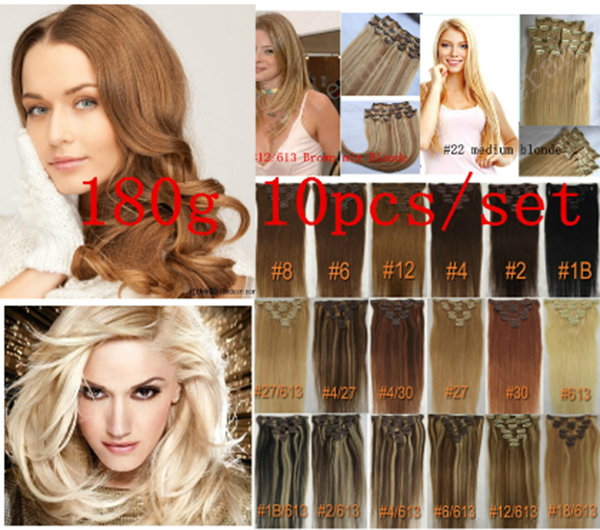 Фотография 7A  10 Pcs 180 grams 18inch - 26inch clips in Straight #12 #16 #18 #30 33#  Full Head remy Hair Clip in Hair Extension Straight