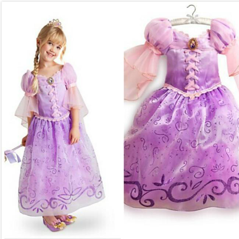 Fantasia Vestidos,2016 Children Kids Cosplay Dresses Rapunzel Costume Princess Wear Perform Clothes HOT Sale free shipping(China (Mainland))