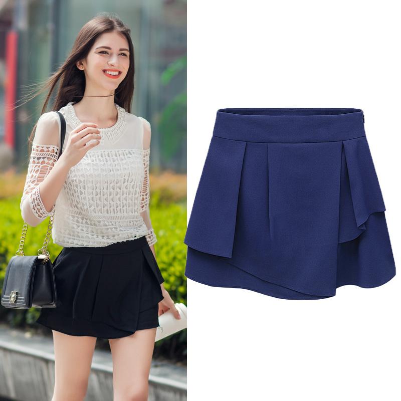 2015 Woman shorts Summer Ladies Asymmetrical Ruffles Chiffon Shorts Skirt Casual Trousers Culottes Short Pants women G12 - GEGE GARMENT store