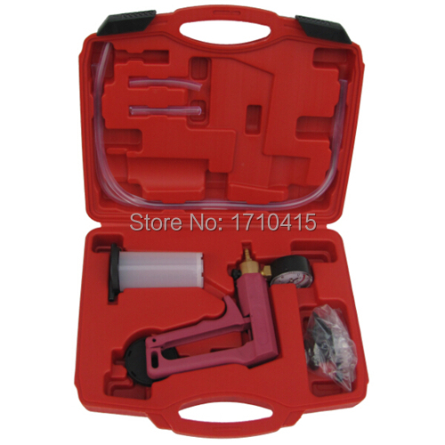 Free shipping Vacuum Tester Brake Bleeder Set/Hand Held Brake Bleeder Tester Set Bleed Kit Vacuum Pump Car Motorbike Bleeding(China (Mainland))