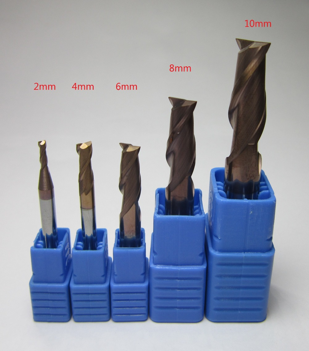 5PCS HRC58 2 4 6 8 10 MM two 2 flutes 2F Tungsten Carbide End Mill / milling cutter CAE2-2-10 KVL CNC end mills set <HRC60(China (Mainland))