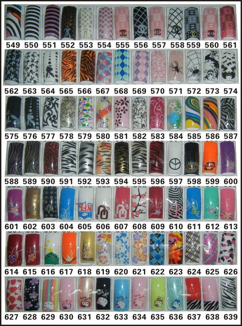 Free Shipping French  Airbrush Nail Art Tips 70pcs in Retail Packing High Quality and Up to 639 designs for choose