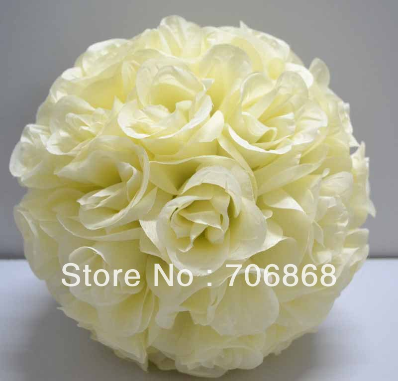 Ivory/cream Color Artificial silk kissing rose flower ball 30cm outer diameter 10pcs/lot wedding Church decoration(China (Mainland))
