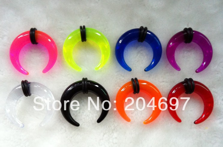 Mix 180pcs 2-14mm New Transparent Acrylic C Shaped Buffalo Ear Stretcher Taper Expander Plug Piercing Body Jewelry Wholesale
