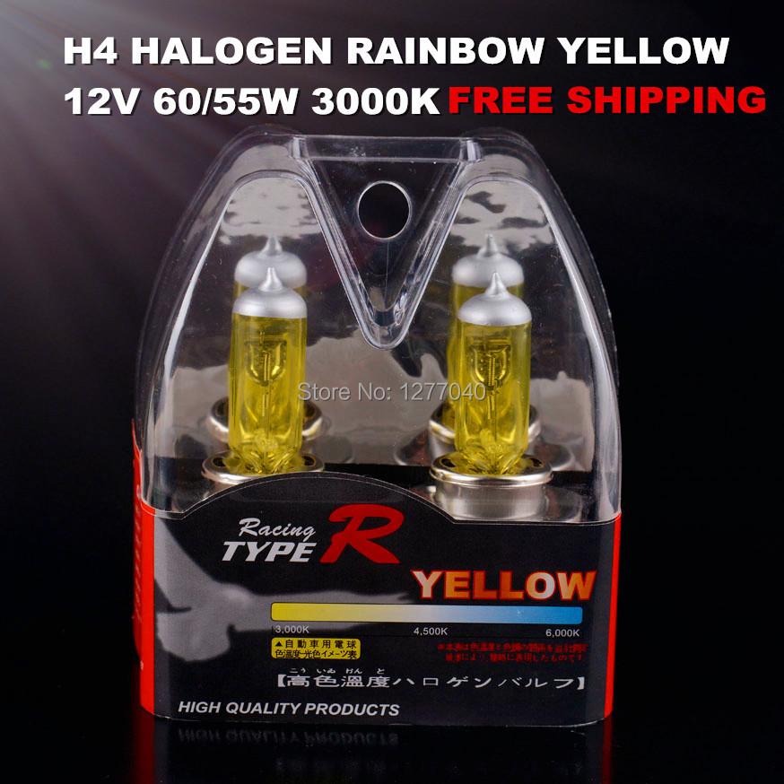 NEW 2X H4 HALOGEN, RAINBOW YELLOW XENON HALOGEN H4 HEADLIGHT/FOG BULBS 3000K 12V 60/55W FREE SHIPPING(China (Mainland))