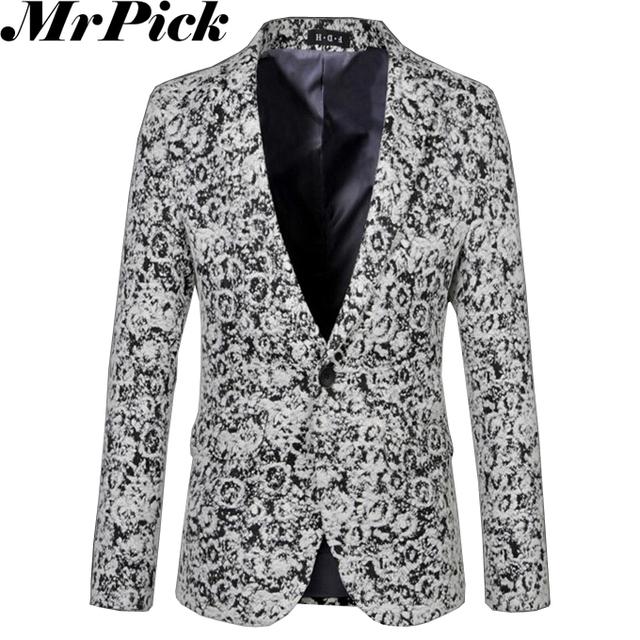 2016 нью-мужчины шерстяное цветочные пиджаки мода Masculino костюм Homme снег серый ...