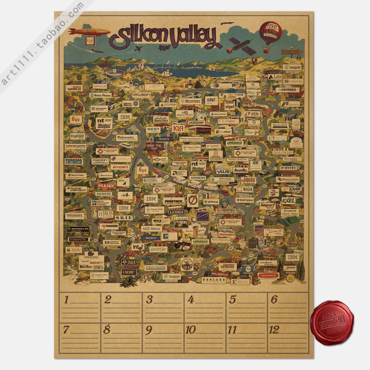 Paper Posters Retro Vintage paper posters Silicon Valley map of the world famous IT enterprise directory 80*60CM(China (Mainland))