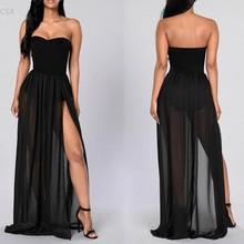 Buy 2016 Summer Women Strapless Sleeveless Shoulder High Waist Side Slit Long Dress Sexy Beachwear Party Clubwear Vestido u2 for $11.66 in AliExpress store