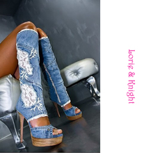 Ladies Fashion Blue Denim Peep Toe Stiletto High Heel Boots Knee High Cut-Out Platform Boots(China (Mainland))