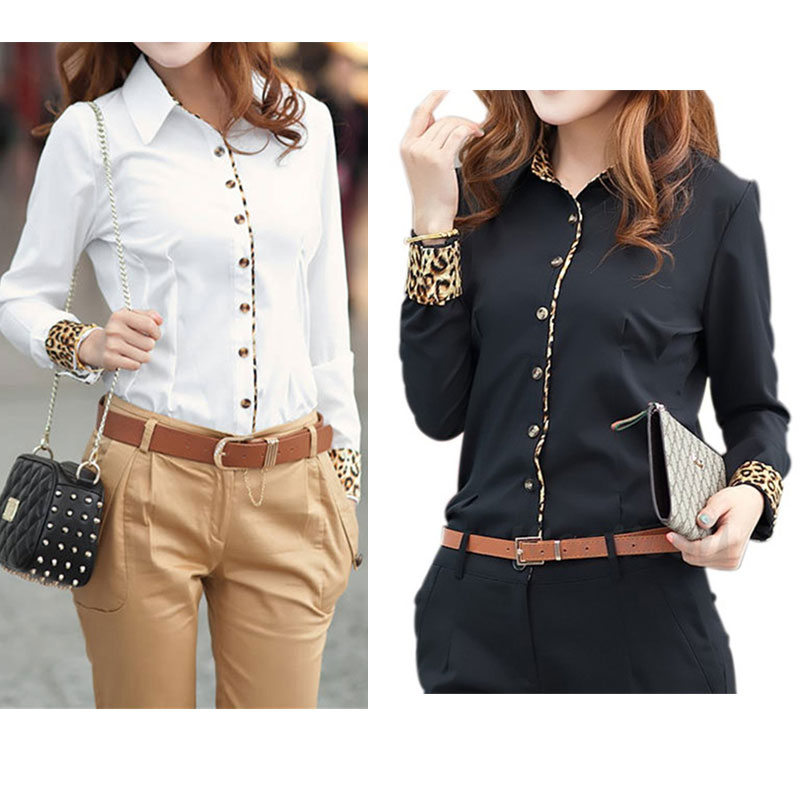 2015 Leopard Patchwork Long-sleeved Women's Shirt Women Fashion Autumn Office Blouse Dress Shirt Professional Occupation CS4526(China (Mainland))