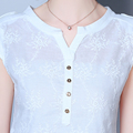Women Blouse Summer Style New Fashion Tops Elegant Embroidered Shirt Casual Plus Size Loose Sexy Bottoming