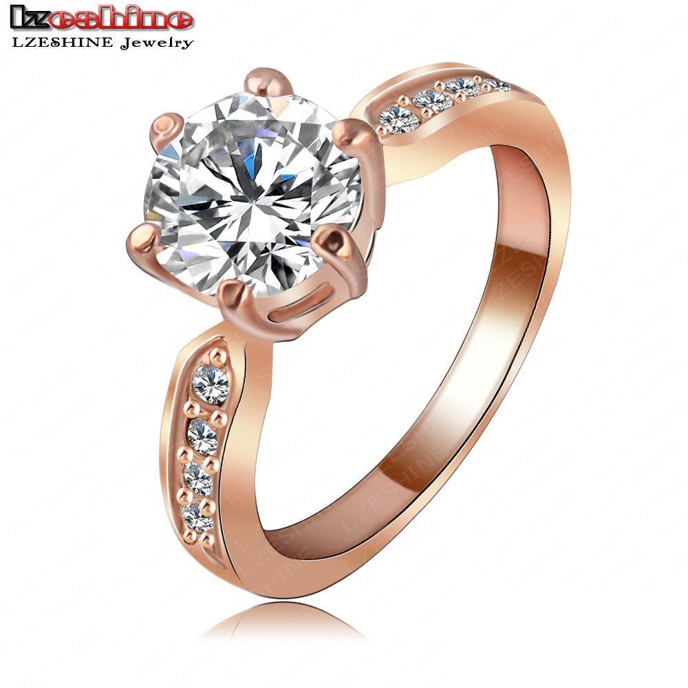 LZESHINE Wedding Jewelry Ring18K Rose Gold Platinum Plate Round AAA Zircon Women Finger Ring Wholesale anel