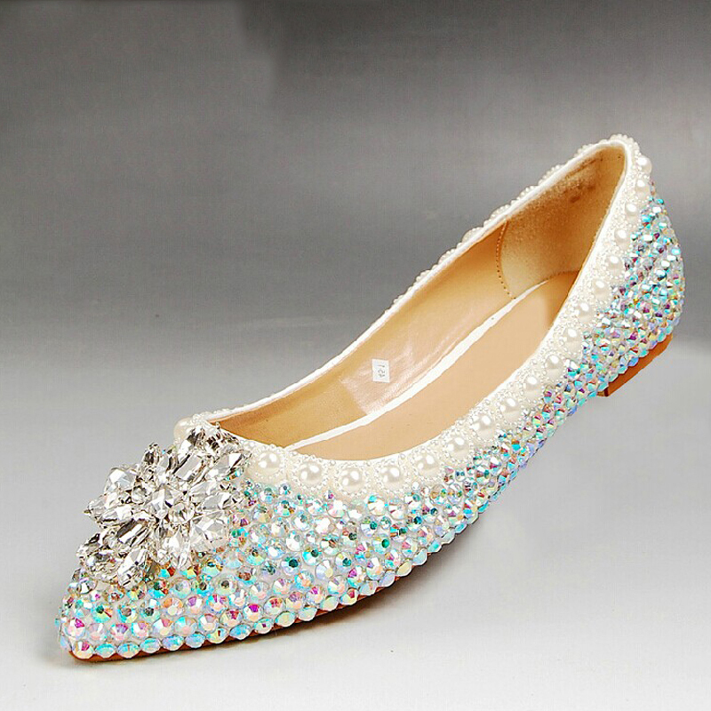 rhinestone flat heels wedding shoes sparkling bridesmaid shoes